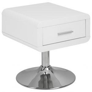 SCANDI Bílý noční stolek Borono s chromovou podnoží - Šířka40 cm- Max. nosnost move 10 kg