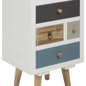 SCANDI Bílý noční stolek Thess 59 cm s barevnými zásuvkami - Šířka36 cm- Výška 59cm
