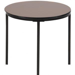 SCANDI Skleněný měděný odkládací stolek Hood 50 cm - Výška45 cm- Síla desky move 6 mm