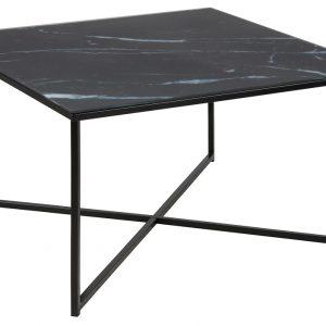 SCANDI Černý skleněný konferenční stolek Venice 80x80 cm - Šířka80 cm- Výška 45 cm