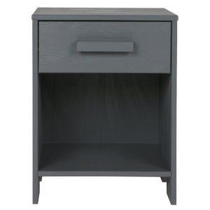 Hoorns Tmavě šedý noční stolek Koben - Výška52 cm- Šířka move 39 cm