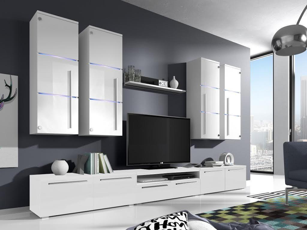 Moderní obývací stěna Breton white + LED - Inspirace a fotogalerie