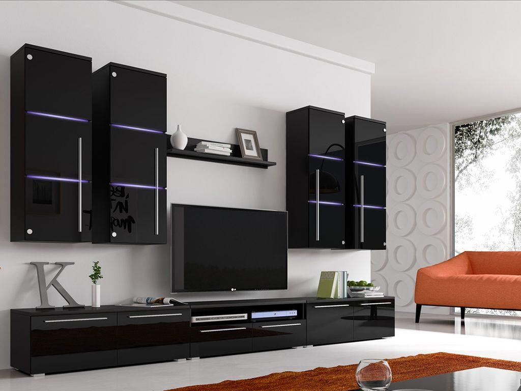 Moderní obývací stěna Breton black + LED - Inspirace a fotogalerie