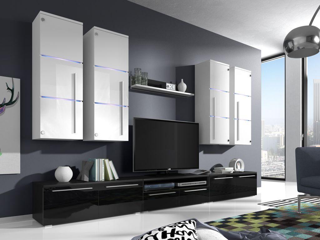 Moderní obývací stěna Breton white/black + LED - Inspirace a fotogalerie