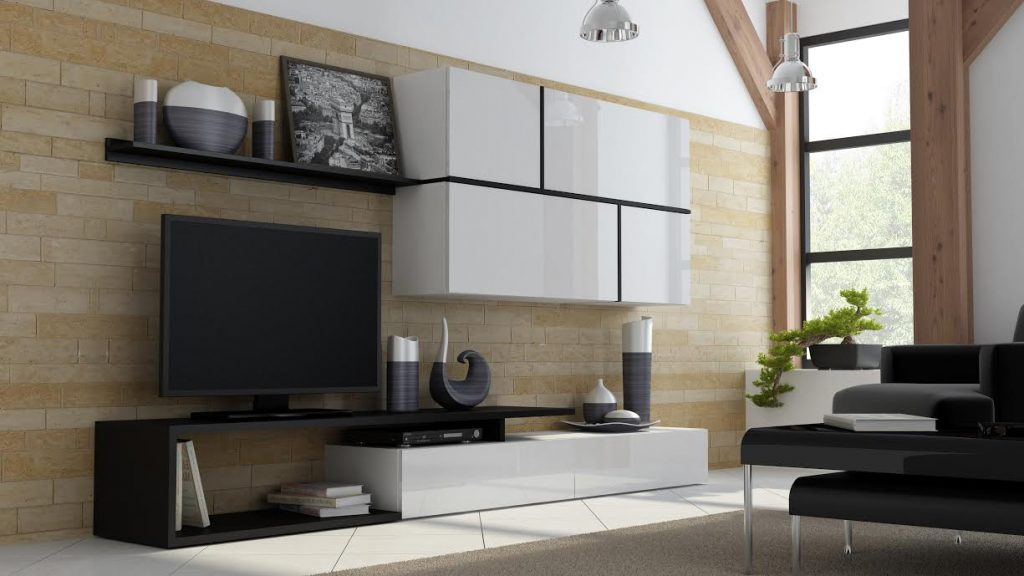 Luxusní bílá obývací stěna Gono
