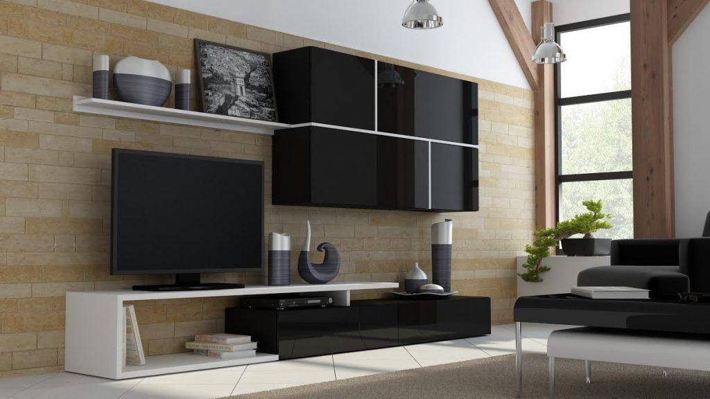 Luxusní černá obývací stěna Gono