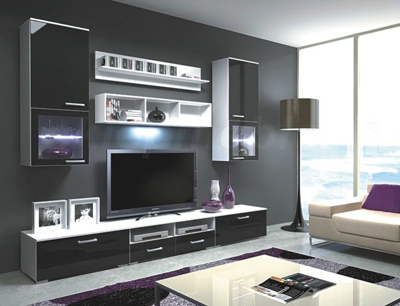 Kasvo FRANCO o.s.+LED osv.(I) Bílá / Černá vysoký lesk - inspirace a fotogalerie stěn v obývacím pokoji