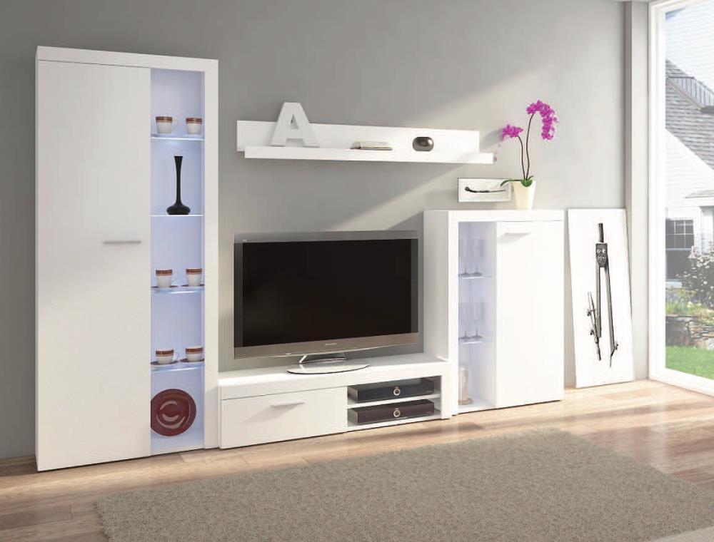 Kasvo RUMBA o.s. Bílá matná - inspirace a fotogalerie stěn v obývacím pokoji