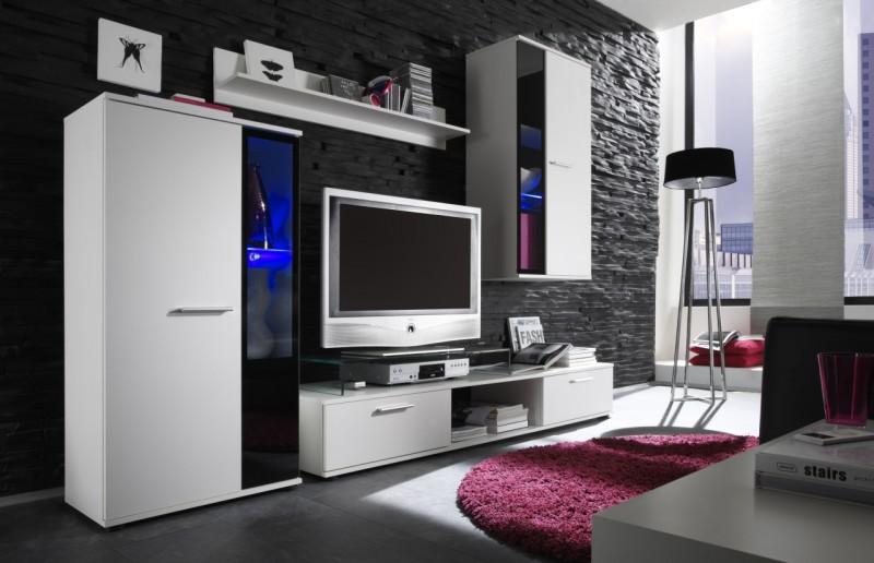 KASVO SAMARA(SALZA) o.s. (L) bílá / černá - inspirace a fotogalerie stěn v obývacím pokoji
