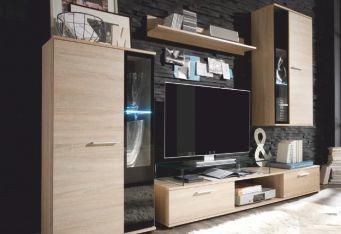 KASVO SAMARA(SALZA) o.s. (L) dub Sonoma / černá - inspirace a fotogalerie stěn v obývacím pokoji