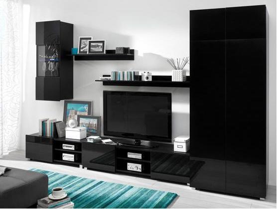 Moderní obývací systém Ordia F Dekor Ordia: Dekor Bílá/bílý lesk - Inspirace a fotogalerie