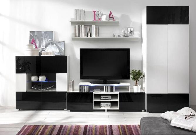 Moderní obývací systém Ordia G Dekor Ordia: Dekor Bílá/černý lesk - Inspirace a fotogalerie