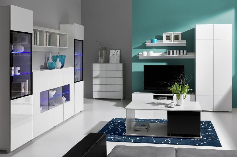 Moderní obývací systém Ordia I Dekor Ordia: Dekor Bílá/bílý lesk - Inspirace a fotogalerie
