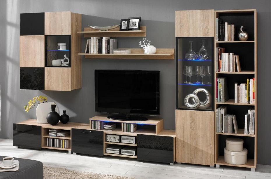 Moderní obývací systém Ordia K Dekor Ordia: Dekor Bílá/černý lesk - Inspirace a fotogalerie