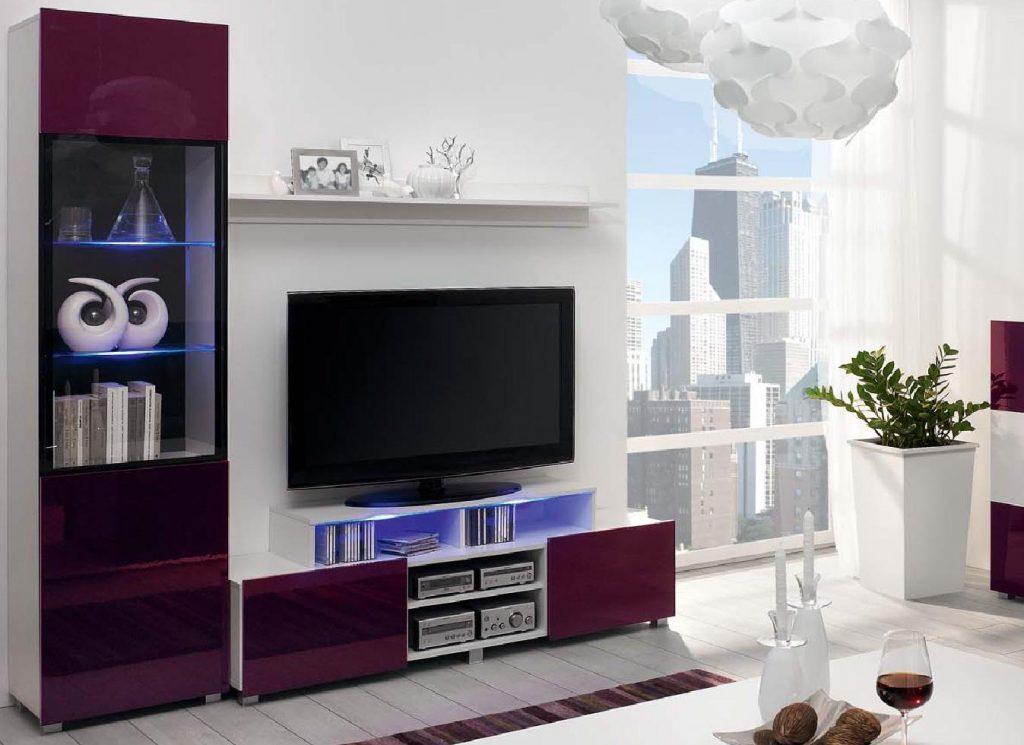 Moderní obývací systém Ordia M Dekor Ordia: Dekor Bílá/černý lesk - Inspirace a fotogalerie