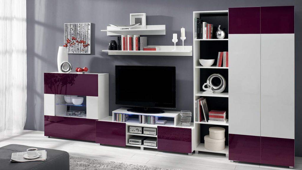 Moderní obývací systém Ordia N Dekor Ordia: Dekor Bílá/fialový lesk - Inspirace a fotogalerie