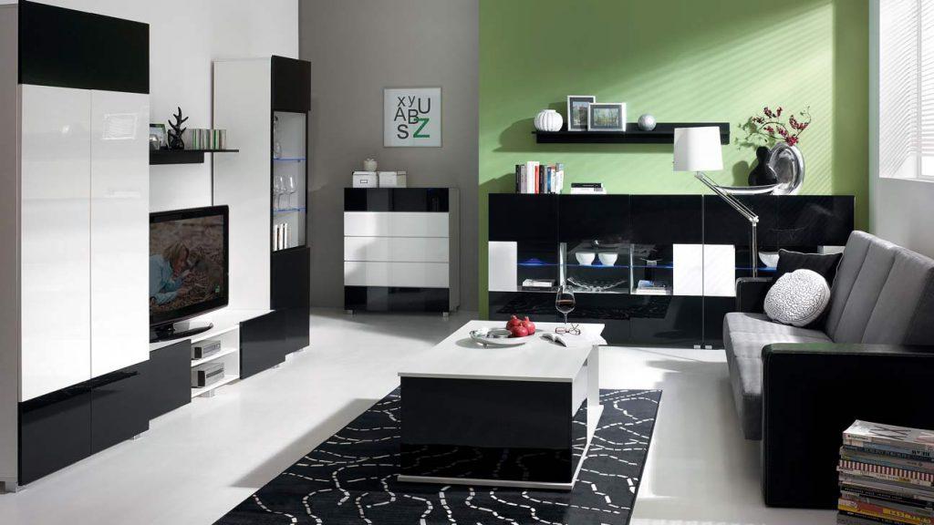 Moderní obývací systém Ordia P Dekor Ordia: Dekor Bílá/černý lesk - Inspirace a fotogalerie