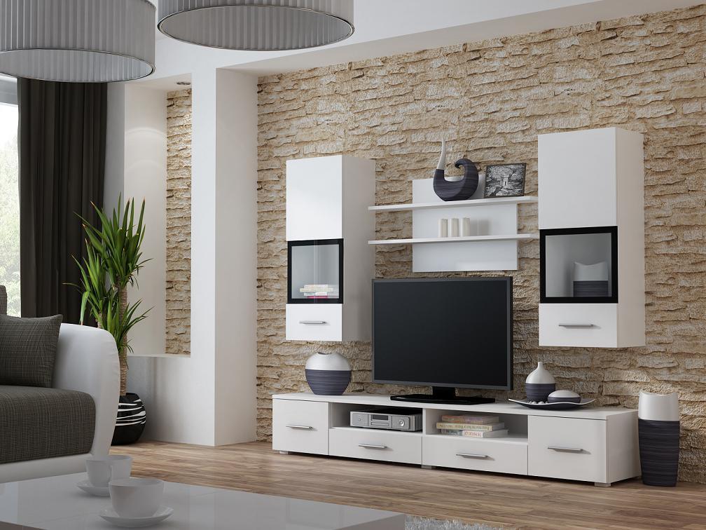 Moderní bílá obývací stěna Siena