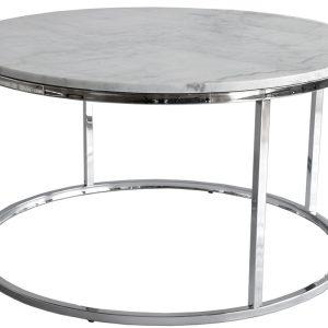 Bílý mramorový konferenční stolek RGE Accent s chromovou podnoží Ø 85 cm - Výška48 cm- Šířka move 85 cm