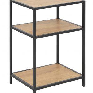 SCANDI Přírodní noční stolek Darila 42 cm s černou podnoží - Výška63 cm- Hloubka move 35 cm