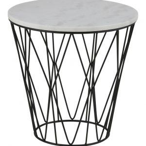SCANDI Bílý mramorový odkládací stolek Marila 50 cm - Výška50 cm- Průměr desky move 50 cm
