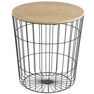 SCANDI Černý odkládací stolek Rufus Ø 43 cm - Průměr move43 cm- Deska move Dřevo paulovnie