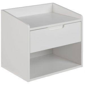SCANDI Bílý noční stolek Drela - Šířka move45 cm- Hloubka move 40 cm