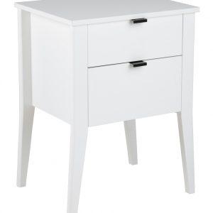 SCANDI Bílý noční stolek Theo - Výška65 cm- Hloubka move 40 cm