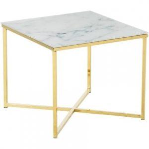 SCANDI Bílý skleněný konferenční stolek Venice 50x50 cm - Výška42 cm- Šířka move 50 cm
