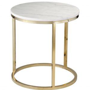 Bílý mramorový konferenční stolek RGE Accent s lesklou zlatou podnoží Ø 50 cm - Výška53 cm- Šířka move 50 cm