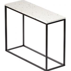 Bílý terrazzo toaletní stolek RGE Accent Bianco s černou podnoží 75 cm - Výška75 cm- Šířka move 100 cm