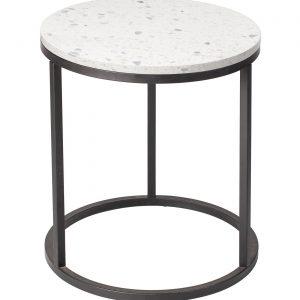 Bílý terrazzo konferenční stolek RGE Accent Bianco s černou podnoží Ø 50 cm - Výška53 cm- Průměr desky move 50 cm