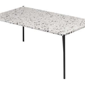 Bílý terrazzo konferenční stolek RGE Air Terrazzo s černou podnoží 48x110 cm - Výška48 cm- Šířka move 110 cm