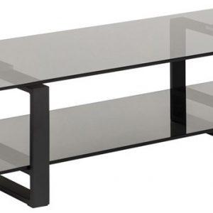 SCANDI Černý skleněný TV stolek Divo 120x45 cm - Výška32 cm- Šířka move 120 cm