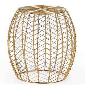 Zlatý kovový odkládací stolek LaForma RONNA 46 cm - Deska stolu moveLakovaný kov- Podnož stolu move Lakovaný kov
