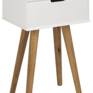 SCANDI Bílý noční stolek Marika - Hloubka move30 cm- Výška 61