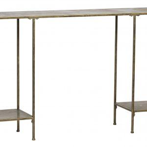 Hoorns Mosazný kovový toaletní stolek Gibon 145 x 30 cm - Výška75 cm- Šířka move 145 cm