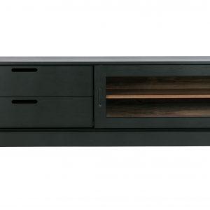 Hoorns Černý borovicový TV stolek Arthur 180 cm - Výška50 cm- Šířka move 180 cm