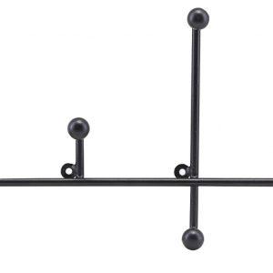 House Doctor Nástěnný černý věšák Prea - Šířka move28 cm- Hloubka move 4 cm