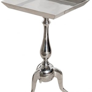 Moebel Living Stříbrný čtvercový odkládací stolek Verson 35x35 cm - Výška55 cm- Šířka move 35 cm