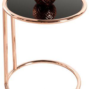 Moebel Living Skleněný odkládací stolek Walter 40 cm s měděnou podnoží - Výška55 cm- Hloubka move 40 cm