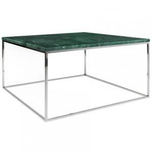 Porto Deco Zelený mramorový konferenční stolek Amaro III s chromovou podnoží 75x75 cm - Výška40 cm- Šířka move 75 cm