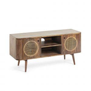 Přírodní dřevěný televizní stolek LaForma Geraldine - Výška55 cm- Šířka move 120 cm