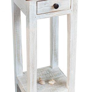 Moebel Living Bílý dřevěný odkládací stolek Lilly 25 x 30 cm - Výška75 cm- Šířka move 30 cm