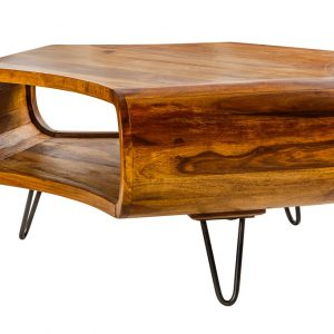 Moebel Living Masivní sheeshamový konferenční stolek Gabriel 90 x 90 cm - Výška38 cm- Šířka move 90 cm