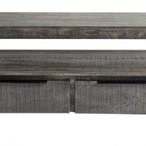 Moebel Living Šedý mangový TV stolek Fabio 130 x 45 cm - Výška45 cm- Šířka move 130 cm