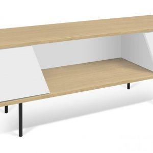 Porto Deco Bílý dubový TV stolek Dexi 140 x 40 cm - Výška51 cm- Šířka move 140 cm