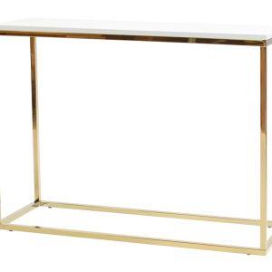 Bílý toaletní stolek FormWood Villa 100 x 35 cm se zlatou lesklou podnoží - Výška75 cm- Šířka 100 cm