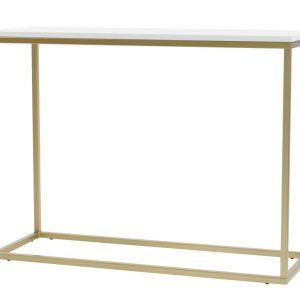 Bílý toaletní stolek FormWood Villa 100 x 35 cm s matnou zlatou podnoží - Výška75 cm- Šířka 100 cm