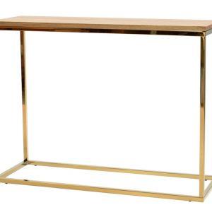 Dubový toaletní stolek FormWood Villa 100 x 35 cm s lesklou zlatou podnoží - Výška75 cm- Šířka 100 cm